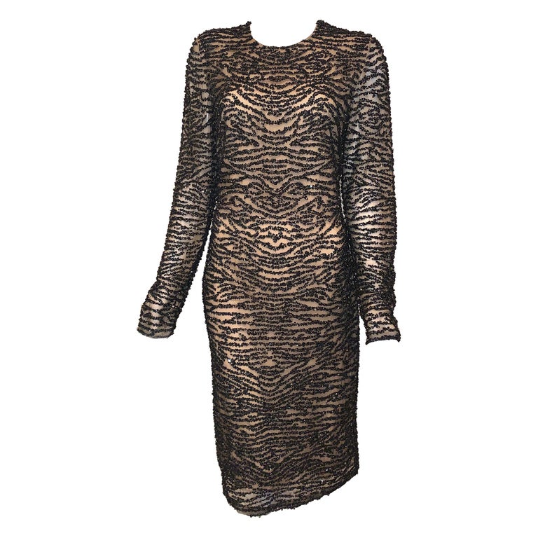Naeem Khan Black and Cream Beaded Long Sleeve Beaded Cocktail Dress  For Sale