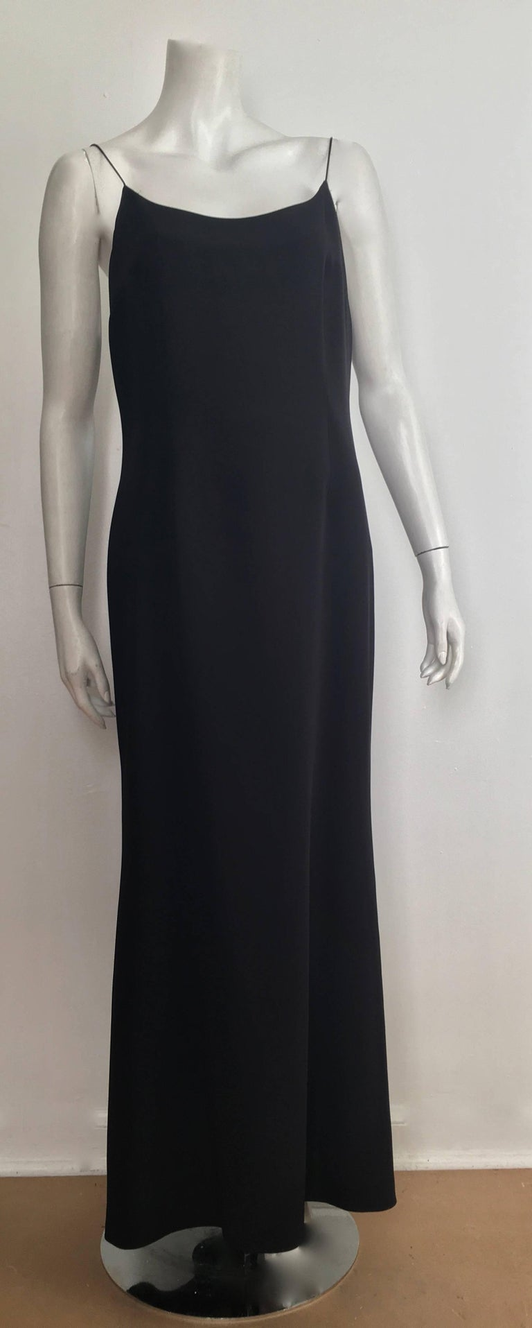 3eff5896cc7 Naeem Khan black silk slip spaghetti strap evening maxi dress is a size 12.  The