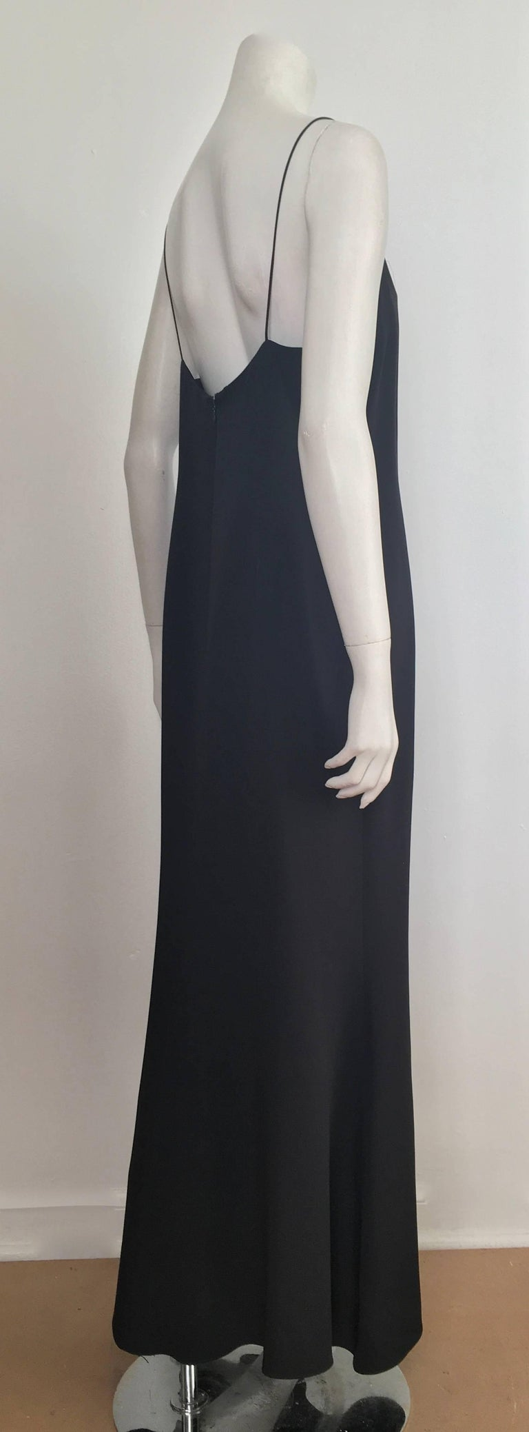 4eddf6dd7a9 Naeem Khan Black Silk Spaghetti Strap Evening Maxi Dress Size 12. In  Excellent Condition For