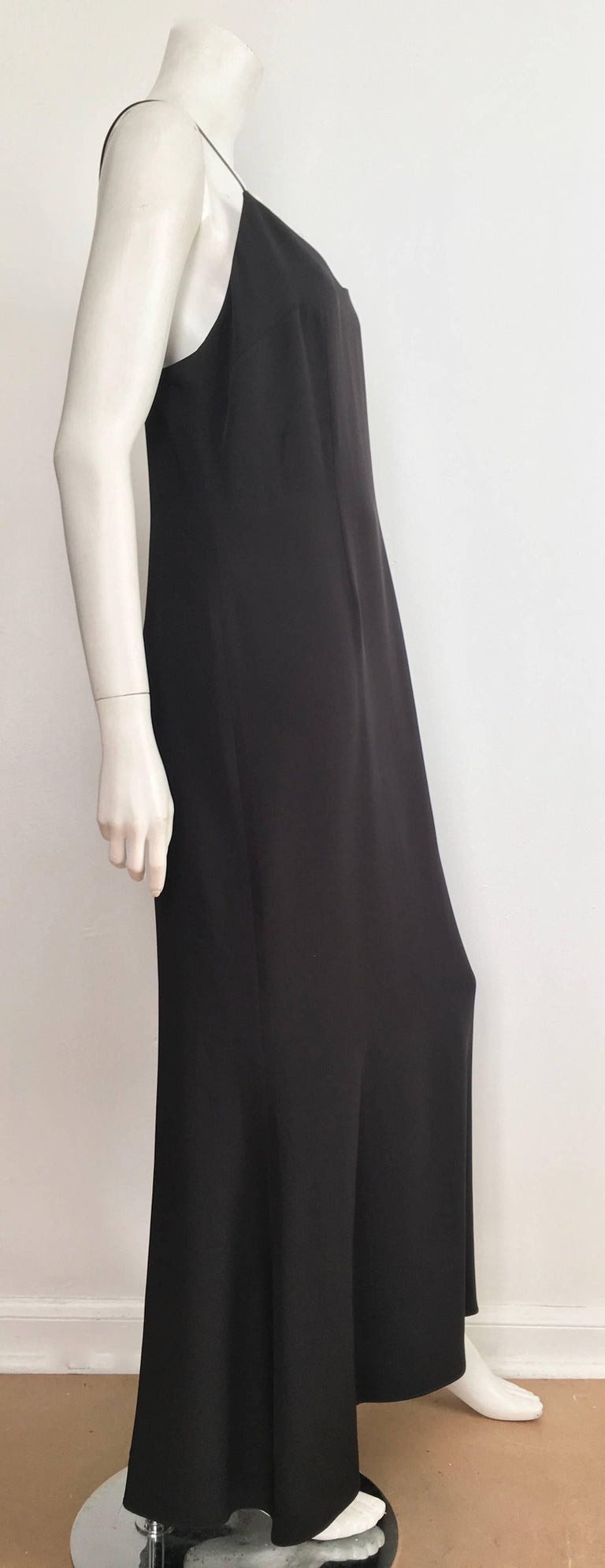 ea3128cfb2b Naeem Khan Black Silk Spaghetti Strap Evening Maxi Dress Size 12. For Sale 4