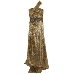 Naeem Khan Gold Sequin Embellished Gown L