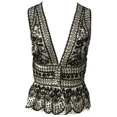 Naeem Khan Ivory & Brown Silk Embroidered Top NWT-4
