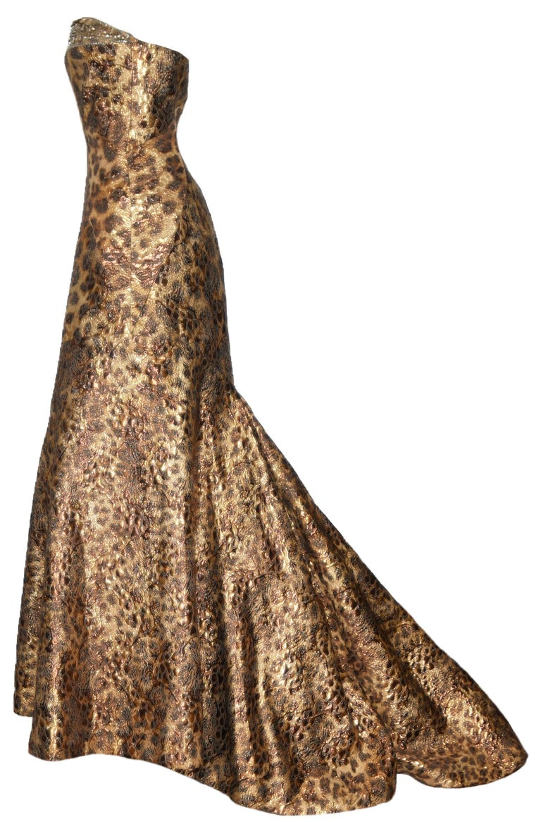 Image result for GOLDEN BROWN BROCADE GOWN