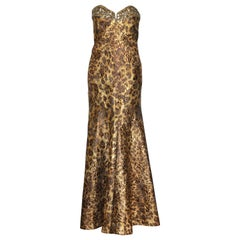 Naeem Khan Leopard Print Gold Tone & Brown Brocade Strapless Gown Size 10 US