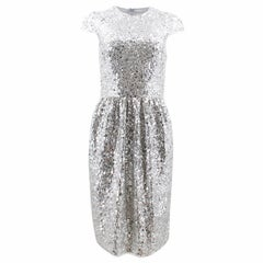 Naeem Khan Silver Sequined Sheath Dress