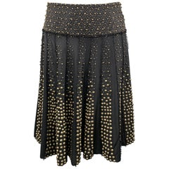 NAEEM KHAN Size 6 Black Gold Tone Metal Beaded Silk A Line Skirt