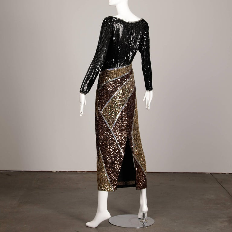 Black Naeem Khan Vintage Sequin + Beaded Evening Gown For Sale