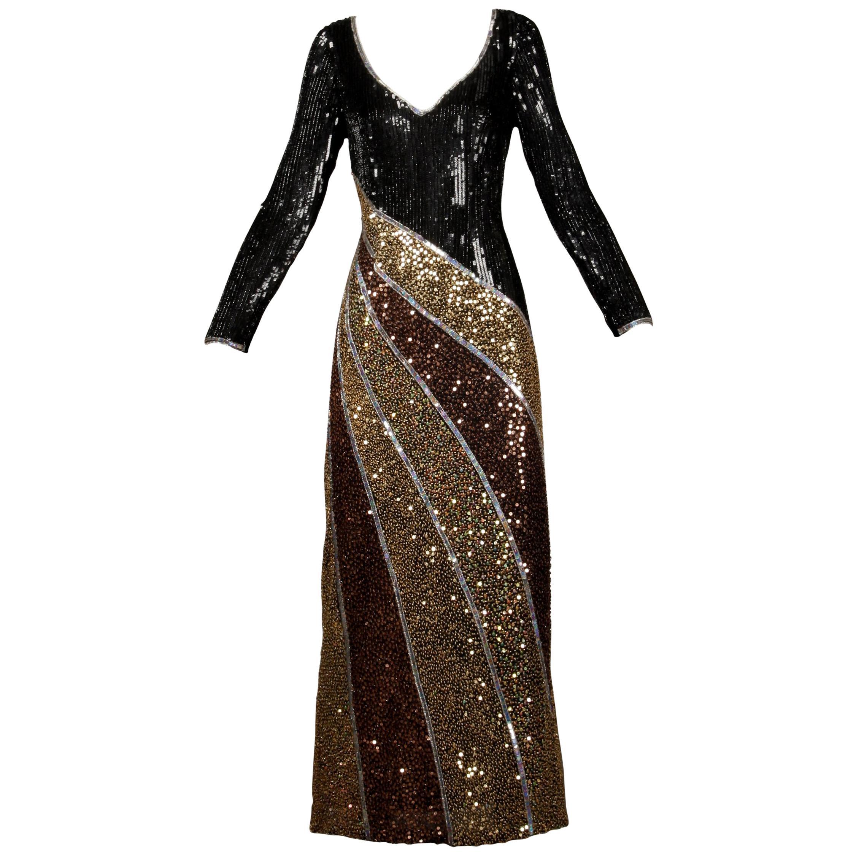 Naeem Khan Vintage Sequin + Beaded Evening Gown