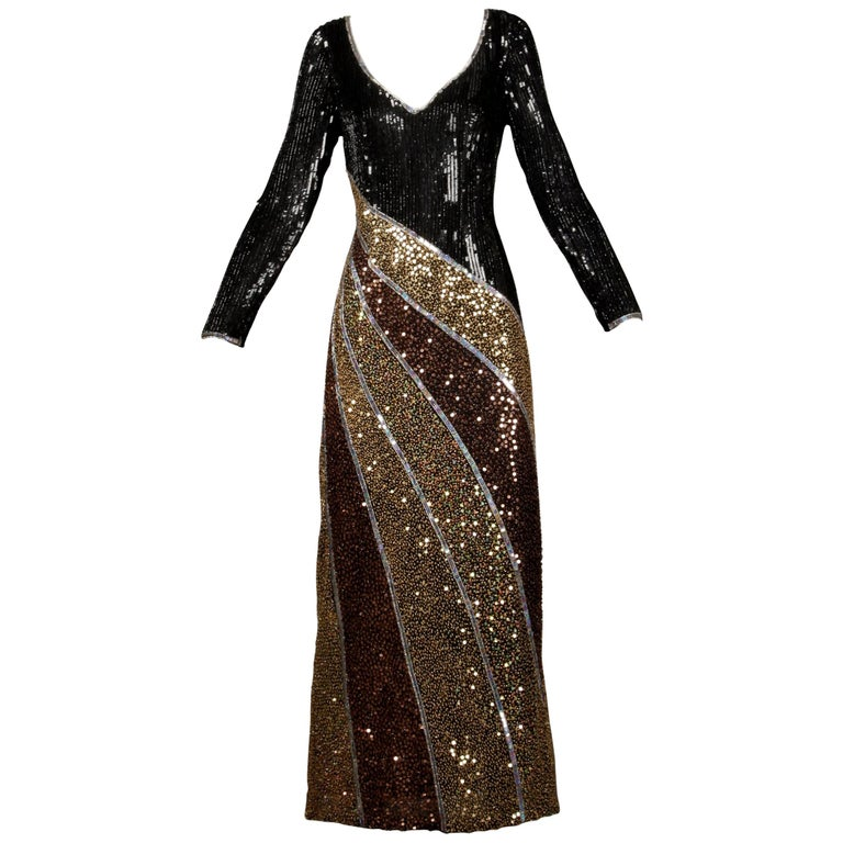 Naeem Khan Vintage Sequin + Beaded Evening Gown For Sale