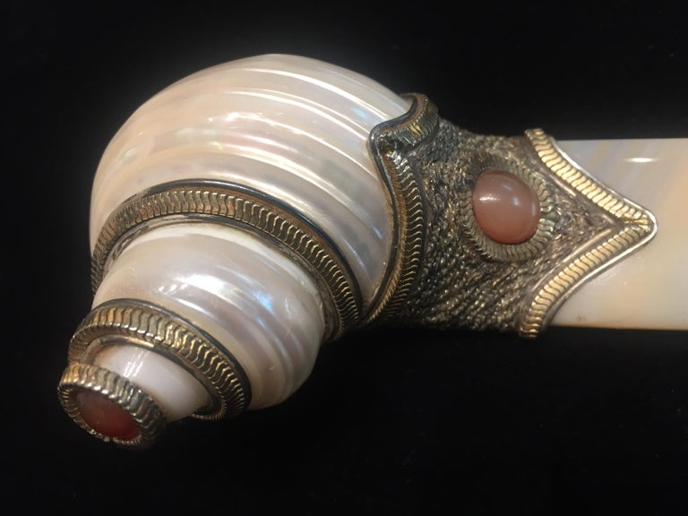 Romantic Naef Orfaley, Letter Opener, Silver, Gemstones, Shell and Agate, circa 1980s For Sale