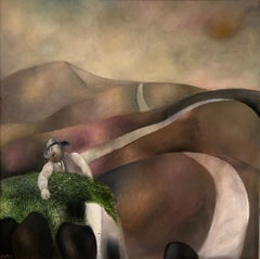 Israeli Surrealist Judaica Abstract Oil Painting Naftali Bezem Bezalel School