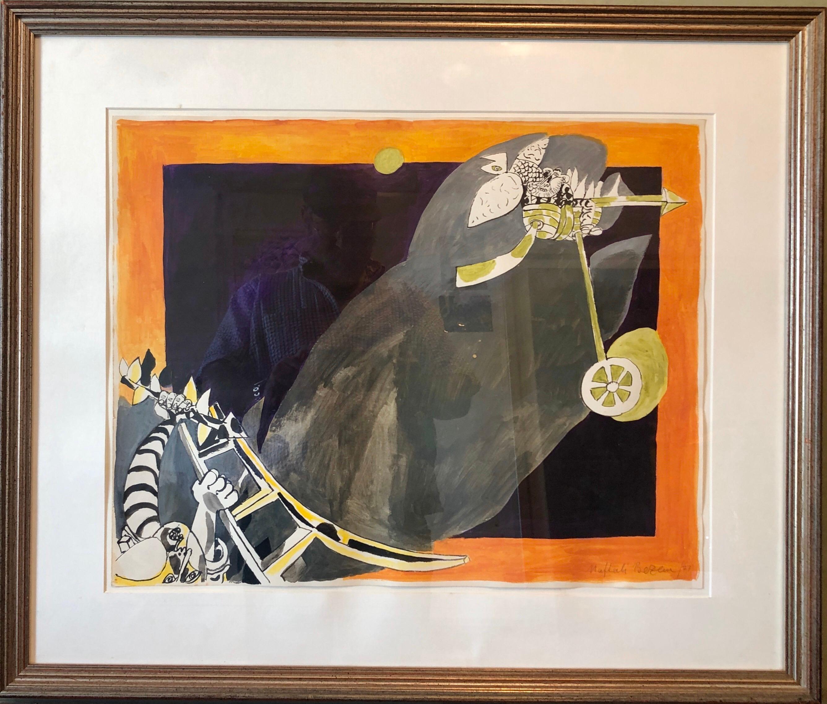 Rare German Israeli Surrealist Judaica Abstract Gouache Watercolor Painting