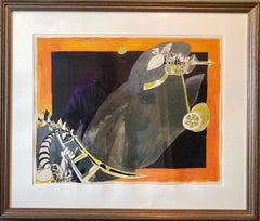 Rare German Israeli Surrealist Judaica Abstract Gouache Watercolor Painting