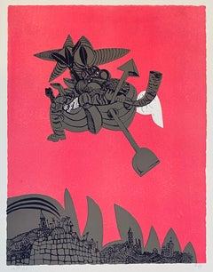 Israeli Surrealist Judaica Abstract Lithograph Naftali Bezem