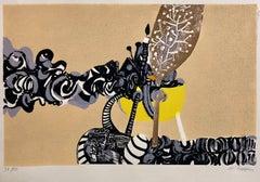 Rare Israeli Surrealist Judaica Abstract Lithograph Naftali Bezem