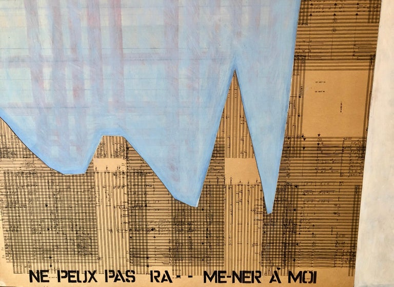1980s Large Abstract Collage Israeli Painting Musical Notes, French Quote For Sale 1