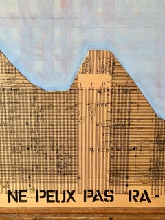 1980s Large Abstract Collage Israeli Painting Musical Notes, French Quote