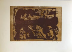 Untitled: Brown Woodcut Composition (Edition 78/200)