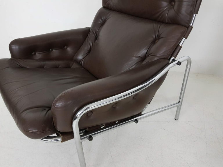 1x Nagoya Brown Leather Lounge Chair by Martin Visser for 't Spectrum, Dutch '69 For Sale 5