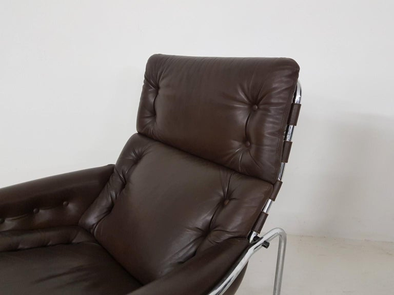 1x Nagoya Brown Leather Lounge Chair by Martin Visser for 't Spectrum, Dutch '69 For Sale 6