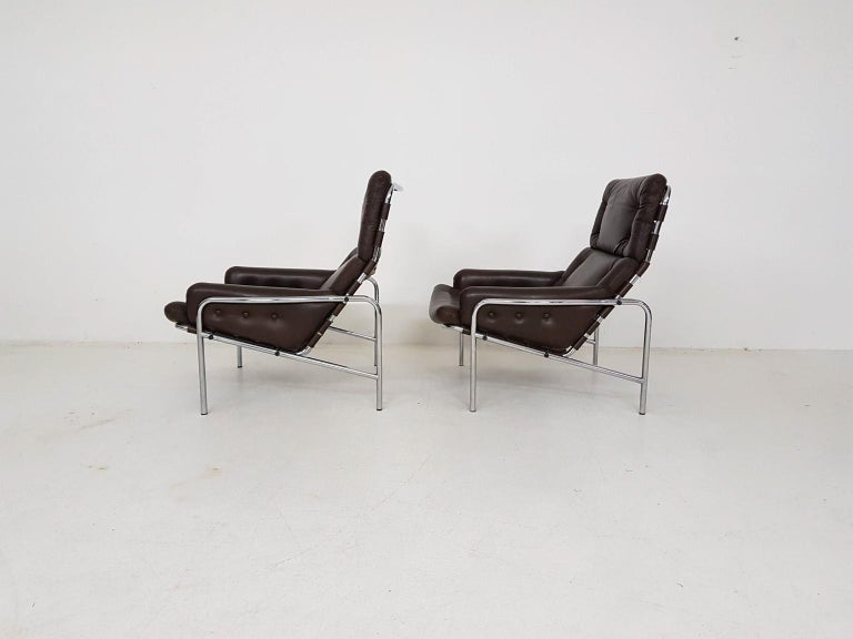 Mid-Century Modern 1x Nagoya Brown Leather Lounge Chair by Martin Visser for 't Spectrum, Dutch '69 For Sale