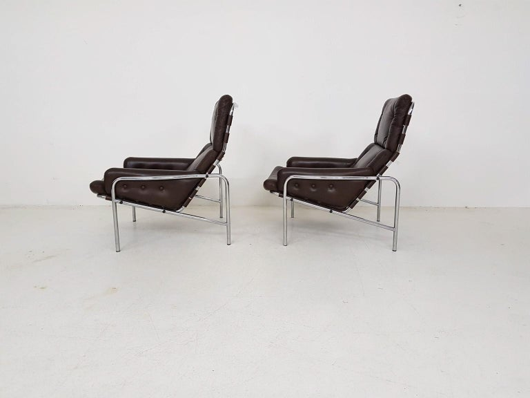 1x Nagoya Brown Leather Lounge Chair by Martin Visser for 't Spectrum, Dutch '69 In Good Condition For Sale In Amsterdam, NL
