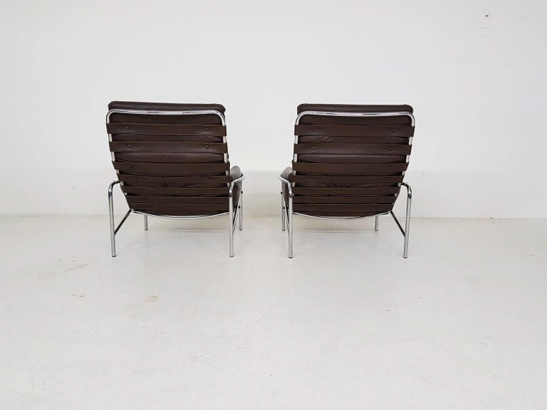 Mid-20th Century 1x Nagoya Brown Leather Lounge Chair by Martin Visser for 't Spectrum, Dutch '69 For Sale