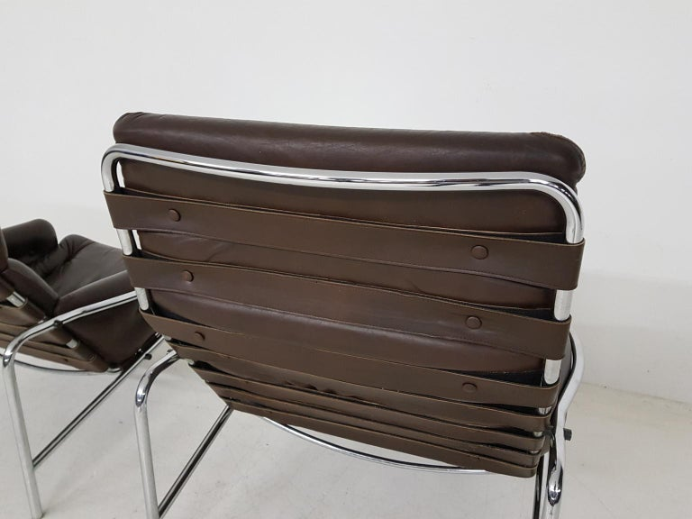 Metal 1x Nagoya Brown Leather Lounge Chair by Martin Visser for 't Spectrum, Dutch '69 For Sale