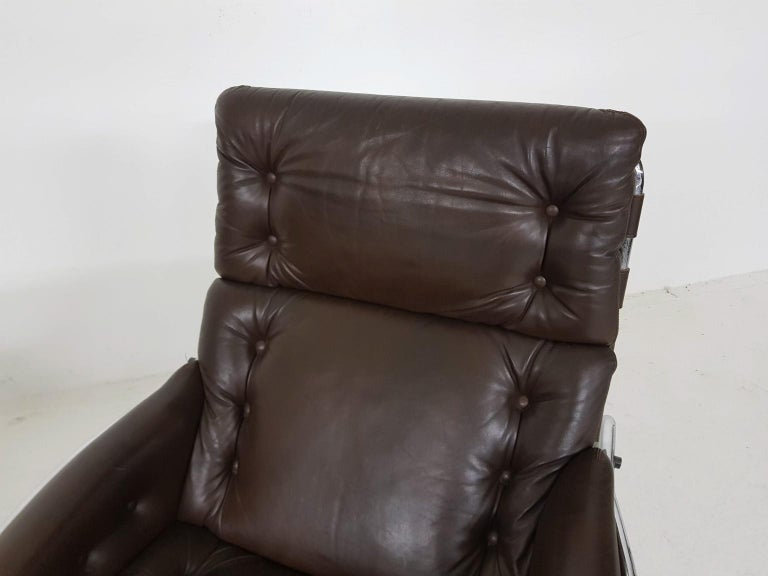 1x Nagoya Brown Leather Lounge Chair by Martin Visser for 't Spectrum, Dutch '69 For Sale 2