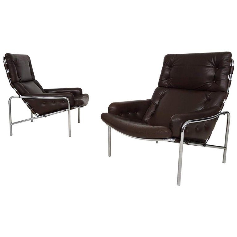 1x Nagoya Brown Leather Lounge Chair by Martin Visser for 't Spectrum, Dutch '69 For Sale