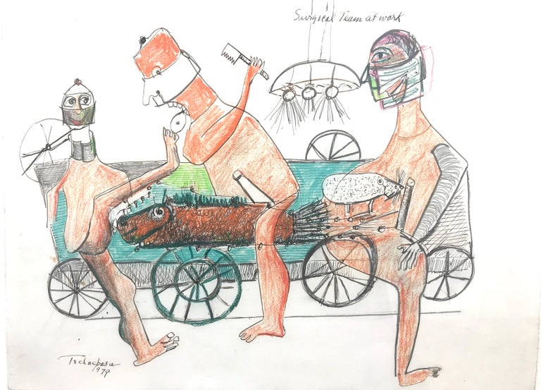 """""""Surgical Team at Work"""" - Mixed Media Art by Nahum Tschacbasov"""