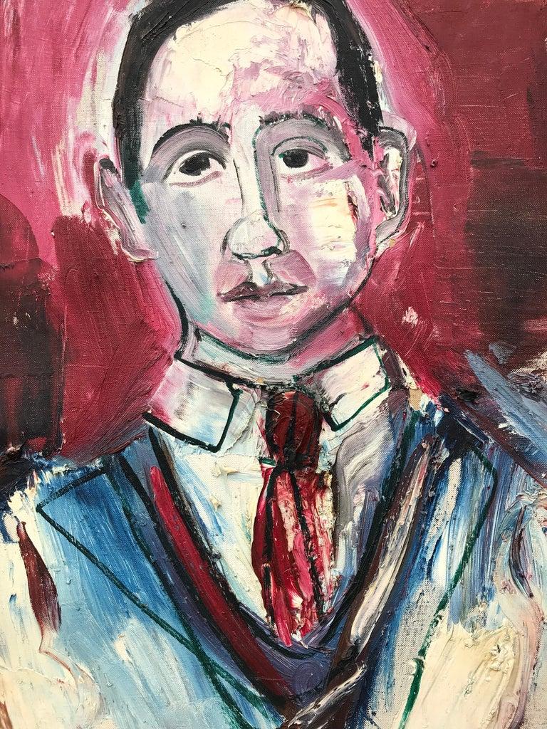 """Portrait of J. Bickel"" - Brown Portrait Painting by Nahum Tschacbasov"