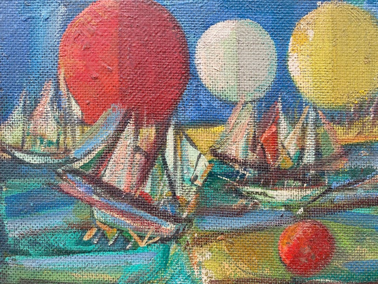"""""""Ships and Orbs"""" - Painting by Nahum Tschacbasov"""