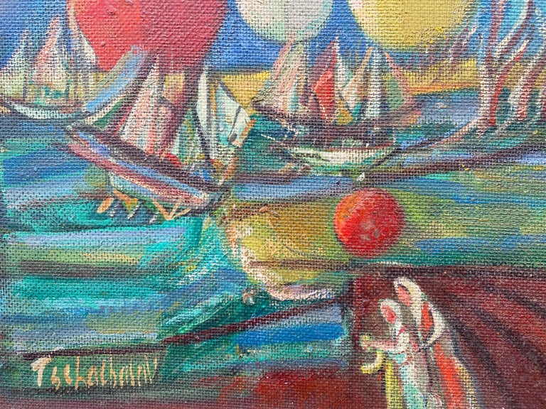 """""""Ships and Orbs"""" - American Modern Painting by Nahum Tschacbasov"""