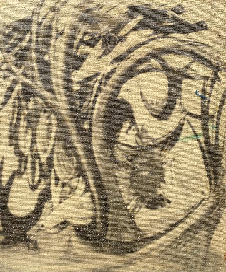 0il on masonite painting by the well known Russian/American artist, Nahum Tschacbasov.  It is painted on the rough side of the masonite and is signed lower left. Presently unframed. Condition is very good. On the verso is another painting done in