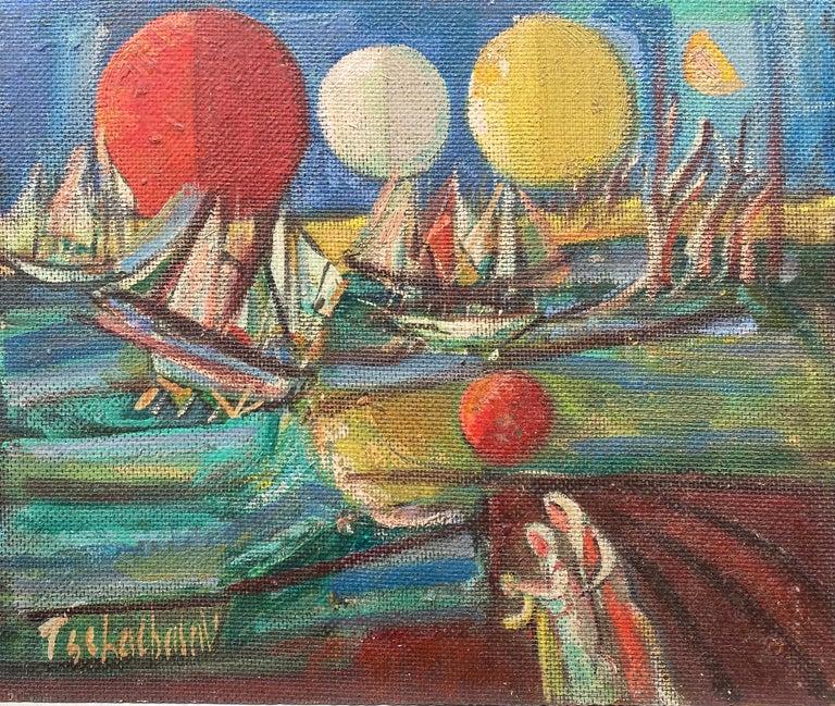 "Nahum Tschacbasov Figurative Painting - ""Ships and Orbs"""