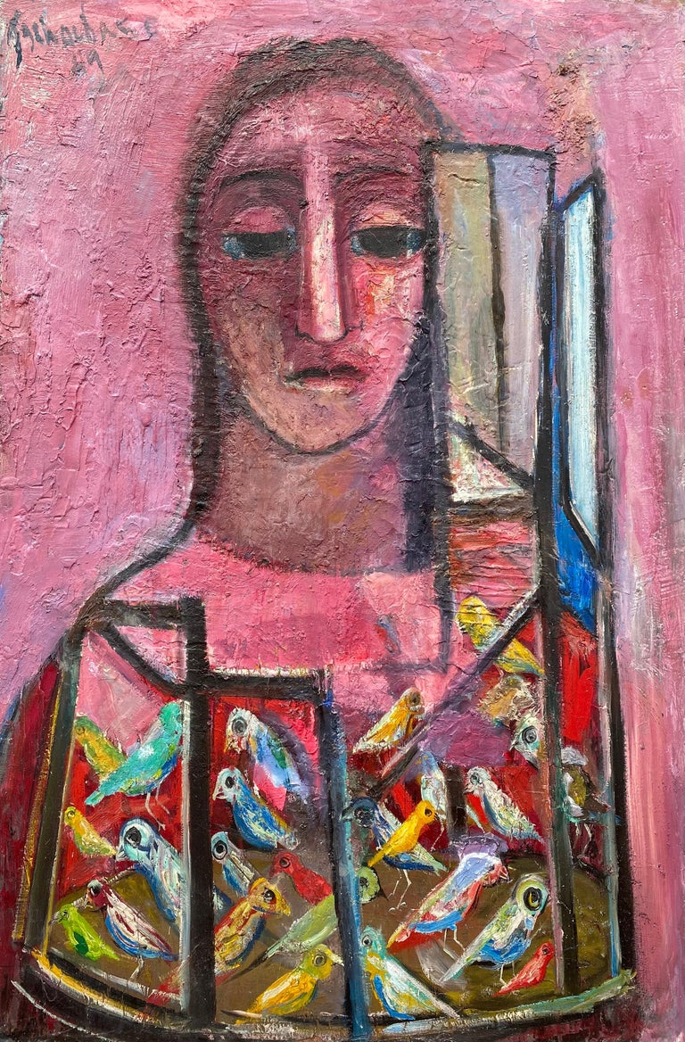 """""""Woman and Birds"""" - American Modern Painting by Nahum Tschacbasov"""