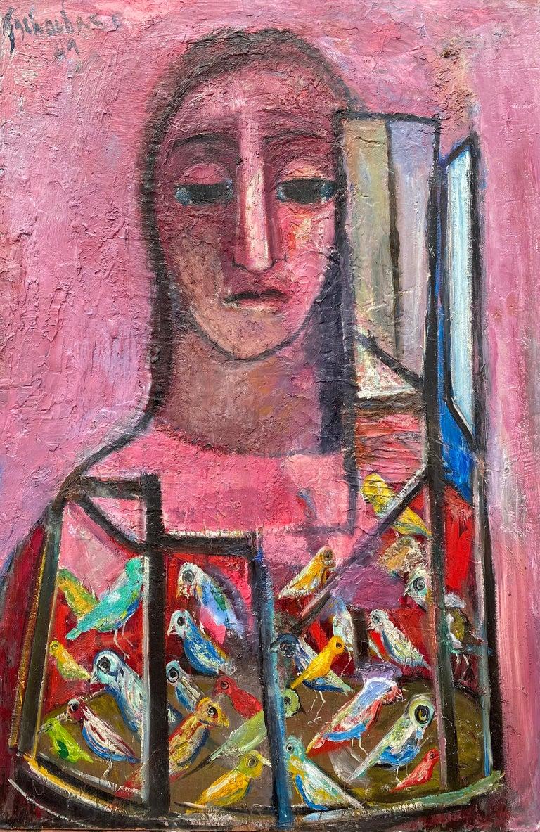 "Nahum Tschacbasov Figurative Painting - ""Woman and Birds"""