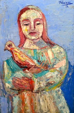 """Woman with Bird,"" Nahum Tschacbasov, figurative, modern, 1956"
