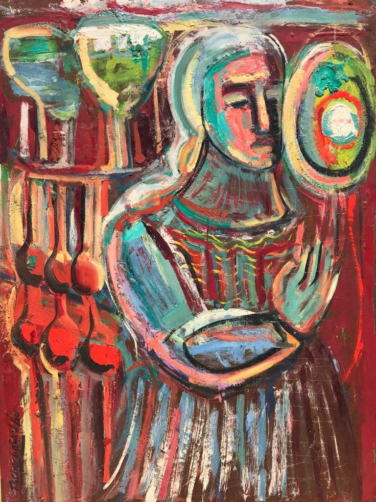 "Nahum Tschacbasov Figurative Painting - ""Woman with Orbs"""