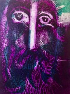 1947 Nahum Tschacbasov Aquatint Judaica Etching Prophet Modernist WPA Artist