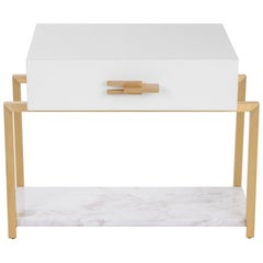 Naima Nightstand with Marble Base and Antique Brass Structure and Handle