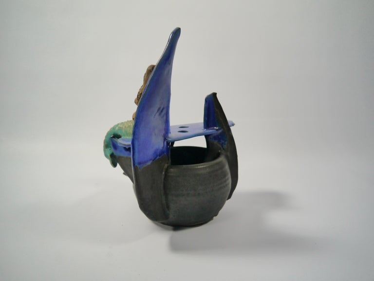 Swedish Naive Ceramic Mermaid Sculpture / Vase by Rein Follestad, Norway, 1990s For Sale