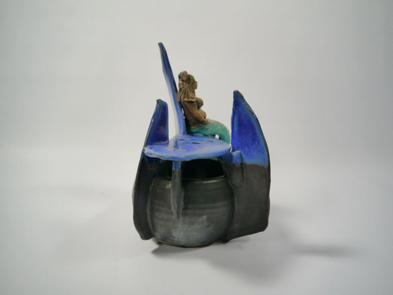 Naive Ceramic Mermaid Sculpture / Vase by Rein Follestad, Norway, 1990s In Good Condition For Sale In Barcelona, ES