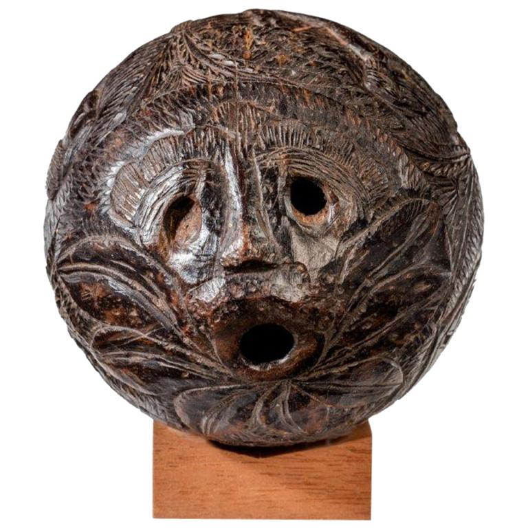 Coconut shell Bugbear powder flask, ca. 1805, offered by Wick Antiques Ltd.