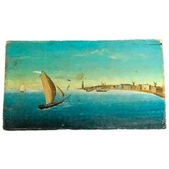 Naïve Harbor Scene Painting