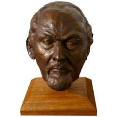 Naive Life-Size Simulated Bronze Plaster Head of Bearded Man, Not Signed
