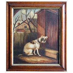 Naive Oil Canvas Bulldog Maple Frame 'A Sad Dog Out All Night & No Key'