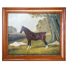 Naive Oil on Canvas Horse Portrait with Tattersalls or Newmarket Rug