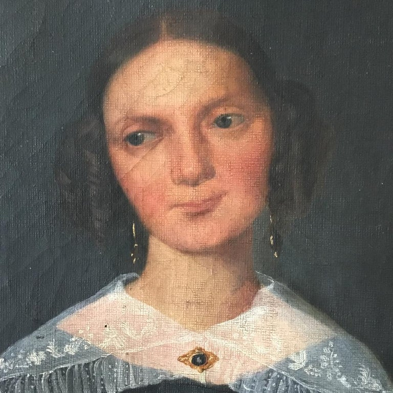 Victorian Naive Oil on Canvas Portrait of a Young Woman For Sale